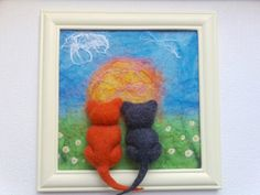 Framed Felted Painting  Lovers cats at sunrise by Valyashki