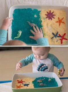 Under the Sea Small World Play Tub. Edible sensory play idea using ocean animals. Suitable for babies and toddlers. Little Lifelong Learners.