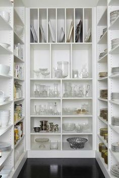 Caden Design Group: Fantastic walk-in pantry with floor to ceiling MDF built-in shelving and glossy espresso flooring. Would love this, a pantry for storage of crockery not just food. Home Design, Interior Design, Design Design, Design Ideas, Pantry Design, Storage Design, Shelf Design, Design Kitchen, Butler Pantry