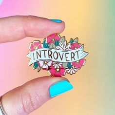 A pretty little introvert enamel pin. Important stuff: Gold enamel pin. Measures x Rubber Pin Back. Comes presented on a backing card. Piercings, Bag Pins, Jacket Pins, Cool Pins, Book Lovers Gifts, Metal Pins, Pin And Patches, Pin Badges, Introvert