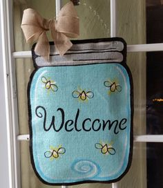 Mason jar burlap door hanger, Spring or summer welcome sign, or wreath Great Mothers day gift! by ConnieRisleyCrafts on Etsy https://www.etsy.com/listing/229381844/mason-jar-burlap-door-hanger-spring-or