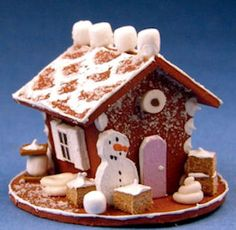 Gingerbread house - marshmallow - $20.00 : S P MINIATURES - hand crafted dollhouse miniatures, S P MINIATURES - shop online for dollhouse miniatures