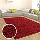 Amazon Angebote Teppich Shaggy Hochflor Einfarbig Flokati für verschiedene Zimmer Günstig Angebot Rot 140x200 cmIhr Quickberater