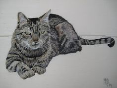 Margaret Dier Embroidery. This cat is embroidered in long and short stitch using stranded cottons on a silk dupion.