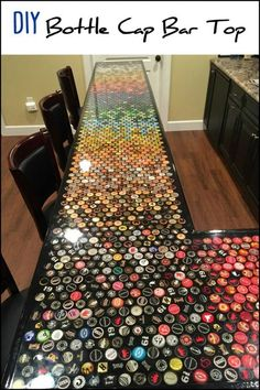 Five Years Worth of Bottle Cap Collection Turned into an Awesome Countertop! diy bar Build an awesome custom bottle cap bar top Custom Bottle Caps, Bottle Cap Art, Custom Bottles, Bottle Cap Crafts, Bottle Cap Table, Beer Cap Table, Beer Cap Crafts, Bottle Cap Projects, Bottle Wall