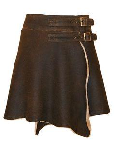 Celtic sheepskin wrap skirt