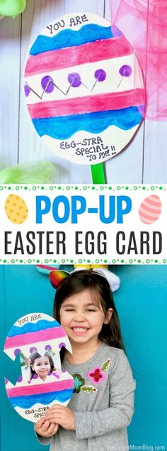 This colorful kid made pop-up Easter egg card has the cutest surprise inside! An easy kids paper craft for Spring that's perfect to make for family, friends, and teachers! #Easter #card #papercrafts via @soccermomblog