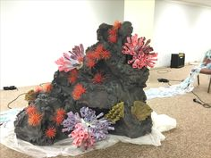 Made this for VBS this year- Theme is Deep Sea Discovery and i made 6 of this rocks. @ Opendoor Presbyterian Church #Rock- made out of cardboard boxes, foam spray, paint #Seaurchin-toothpick/skewer+foam ball #coral reef- paper cone