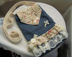 Re purposed denim purse Shabby denim and button cross bag