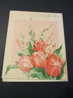 A Thank You Note, floral Greeting Card, FREE SHIPPING by TheRecycledGreenRose on Etsy