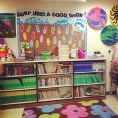 My classroom reading area. Beach theme.