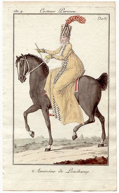 Journal des Dames et des Modes, 1800. Well, it may be impractical for riding, but HOLY CRAP do I love this outfit!