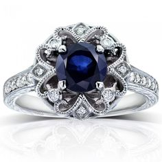 Antique Round Blue Sapphire and Diamond