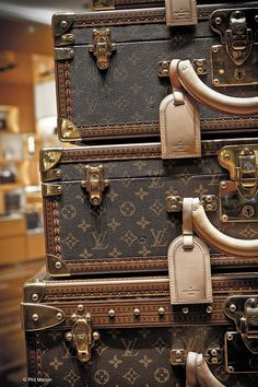 Vintage Luis Vuitton Suitcases. LV luggage never fails to look amazing, no matter what the decade..