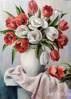 Tulip Painting, Watercolour Painting, Watercolor Flowers, Plant Illustration, Botanical Illustration, Flower Vases, Flower Art, Arte Floral, Vintage Flowers