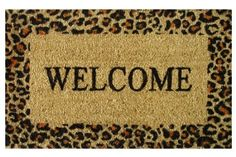 For Back Door:  Amazon.com: Welcome Cheetah - Printed Coco Doormat - Heavy Duty Outdoor Premium Coir Mat 18x30 by Iron Gate - Extremely durable - Traps dust - Welcome your guests with this high quality doormat: Patio, Lawn & Garden