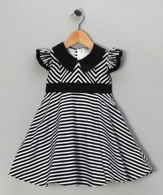 Take a look at this Black Stripe Dress - Toddler & Girls by Maggie Peggy on #zulily today!