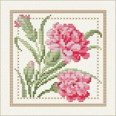 January - Carnation, Project 2010 - Flower of the Month, designed by Ellen Maurer-Stroh, from EMS Cross Stitch Design. Free Cross Stitch Charts, Cross Stitch Love, Cross Stitch Flowers, Counted Cross Stitch Patterns, Cross Stitch Designs, Cross Stitch Embroidery, Embroidery Patterns, Cross Pictures, Cross Stitching