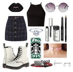 """""""Untitled #1974"""" by beau-4-ever ❤ liked on Polyvore featuring Dr. Martens, Samsung, Bobbi Brown Cosmetics, Bling Jewelry and Monki"""
