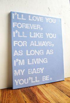 16X20 Canvas Sign  I'll Love You Forever I'll por EpiphanysCorner