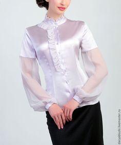17 Best images about Satin Blouse Silk Dress Design, Sheer Clothing, Cute Blouses, Satin Blouses, Beautiful Blouses, Blouse Vintage, Silk Satin, White Satin, Blouse Designs