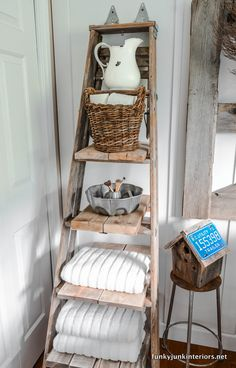 (close to) a Cabin Life with bathroom storage ideas A fantastic repurpose! Ladder towel shelf / Bathroom storage ideas on A fantastic repurpose! Ladder towel shelf / Bathroom storage ideas on Towel Shelf, Towel Storage, Bathroom Ladder, Bathroom Storage, Bathroom Ideas, Rustic Decor, Farmhouse Decor, Vintage Ladder, Old Ladder Decor