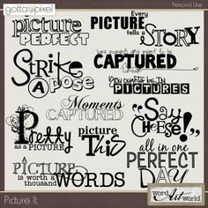 Picture It wordart pack by Word Art World by Jennifer at less 40% at Gotta Pixel