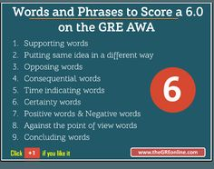 Words and Phrases to Score a 6.0 on the GRE AWA
