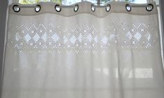 Hardanger Curtain Panel White on White by norwegianneedle on Etsy
