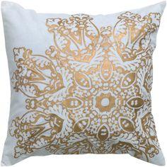 """Metallic Printed White Pillow Cover (18"""" x 18"""")"""