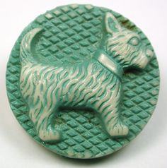 Vintage Buffed Celluloid Button Scottie Dog Design