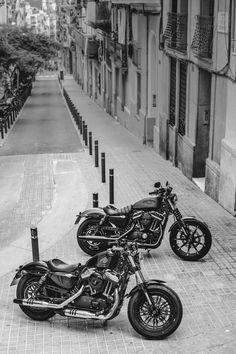 """""""One each"""" at: Dark Custom Sportster 48, Harley Davidson Sportster, Custom Bobber, Custom Bikes, Riders On The Storm, Vintage Motorcycles, Bike Life, Super Cars, Bikers"""