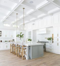 Home Decor Blogger Chrissy Marie shows how Sherwin Williams Krypton, a lovely blue-gray, looks in real life photos in her kitchen. Painted Kitchen Island, Grey Kitchen Island, All White Kitchen, New Kitchen, Kitchen Decor, Island Blue, Kitchen Ideas, Home Design, Interior Design