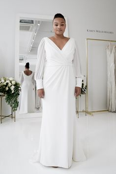 Discover the Curve bridal gown collection for modern brides, carefully designed by KWH. Try on our stunning plus size wedding dresses at our boutiques. Wrap Wedding Dress, Western Wedding Dresses, Best Wedding Dresses, Bridal Dresses, Bridesmaid Dresses, Boho Wedding, Dream Wedding, Plus Size Wedding Dresses With Sleeves, Plus Size Wedding Gowns