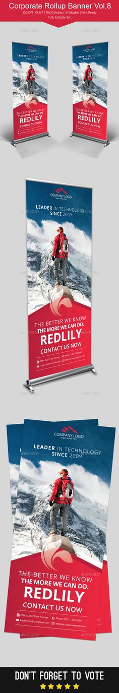 Corporate Rollup Banner Template #design Download: http://graphicriver.net/item/corporate-rollup-banner-vol8/11460615?ref=ksioks