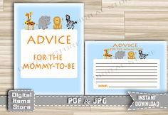 Safari Advice For Parents To Be - Safari Advice For Mommy To Be - Advice Cards Jungle Animals Zoo - Advice Sign - INSTANT DOWNLOAD - sb1 by DigitalitemsShop on Etsy