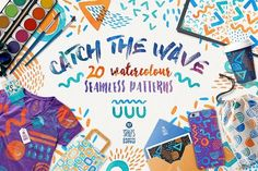 Catch The Wave, Seamless Patterns by Stella's Graphic Supply on @creativemarket