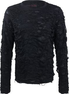 Semi-transparent long-sleeve shirt with destroyed texture, from the Queen of Darkness men's clothing collection. Complete with scarf.