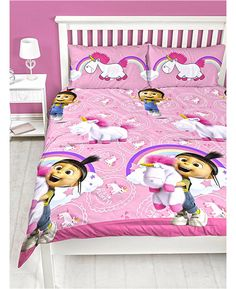 This official Fluffy Unicorn Double Duvet Set is a must for fans of Despicable Me! Buy Agnes with Her Fluffy unicorn with free delivery on all bedding Despicable Me Bedroom, Minion Bedroom, Unicorn Bedroom, Minions Despicable Me, Kids Bedroom, Kids Rooms, Bedroom Ideas, Double Duvet Set, Double Duvet Covers
