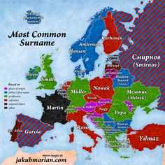 Most common surnames by country in Europe and their meaning - onomastics European History, World History, Family History, Geography Map, Cultura General, Historical Maps, Surnames, History Facts, Fun Facts