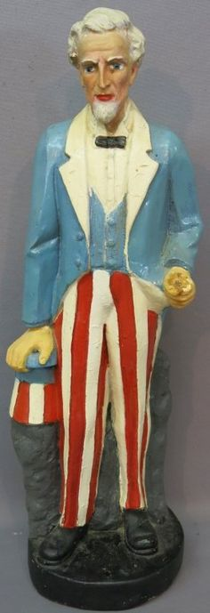 Chalkware Uncle Sam flag holder