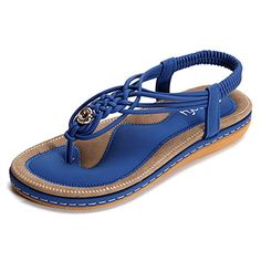 Socofy Women's Flat Sandals Summer Clip Toe Flip Flops Thongs Bohemian Style Beach Shoes with Wedge Heels Slip On Open Toe T-Strap Braided Flats Casual Shoes for Walking Vacation Blue 5 UK Beach Shoes, Beach Sandals, Flat Sandals, Bohemian Sandals, Flat Shoes, Wedge Heels, Flip Flop Shoes, Flip Flops, Bleu Violet
