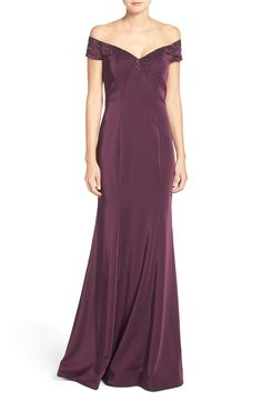 Burgundy off the shoulder evening gown