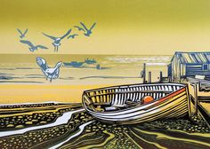 'Seagulls Landing' By Printmaker Rob Barnes. Blank Art Cards By Green Pebble. www.greenpebble.co.uk