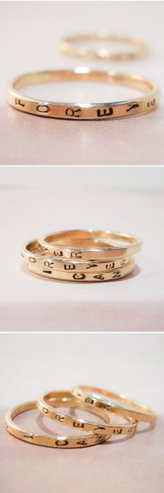 Stamped Stackable Rings