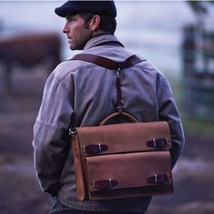 """JMB Brown Oiled Leather Urba Convertible 17"""" Laptop Briefcase Messenger and Backpack"""