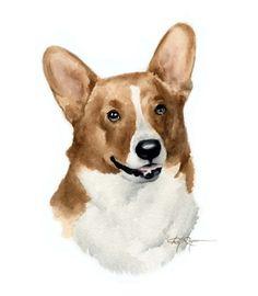 WELSH CORGI Dog Watercolor Painting ART Print by k9artgallery