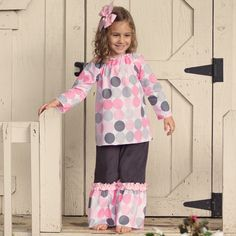 Lolly Wolly Doodle Pink Gray Dot Corduroy Extreme Ruffle Pant Set 8/27
