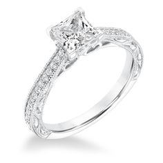31-10005-E Vintage Diamond Engraved And Milgrain Engagement Ring set with princess cut diamond. traditional look. Available at CMI Jewelry Showroom in Raleigh, NC www.cmijewelry.com