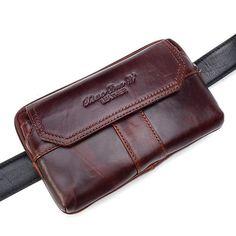 Men Genuine Leather Clutches Bag Belt Waist Phone Bag for 7 inches Phones - Banggood Mobile